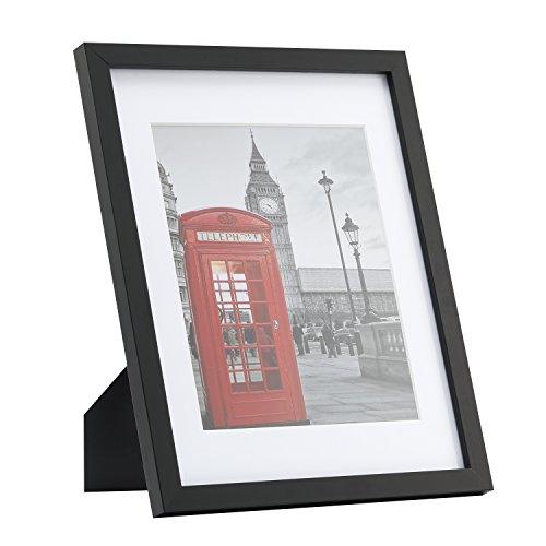 Bilderrahmen 28 x 35cm (11*14'') in schwarz, Onewall Kunststoffrahmen mit Passepartout