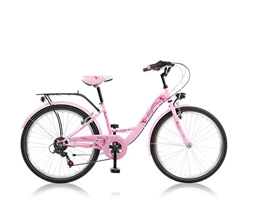 24 Zoll Cityrad Cityfahrrad Mädchenfahrrad Kinderfahrrad Citybike City Fahrrad 6 Gang Shimano STVO Amazone Pink