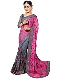 VIVIKI Designer Women's Georgette &Net Saree For Women New Collection 2018 With Blouse Piece (MSPink# Sarees #...