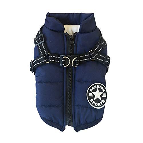 Yamer Winter Warm Hundemantel Jacken Ski-Kostüm ärmellos gepolsterte Baumwollweste mit strapazierfähigem Brustgurt für kleine, mittelgroße und große Hunde