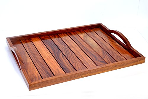 Plateau Hashcart en bois de rose - Fait à la main - Pour la vaisselle, comme décor de table ou plateau à café