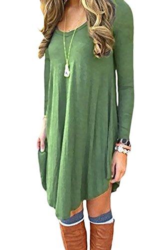 Le Maniche Lunghe In Solido Elastico Maglietta Casual Vestito Green
