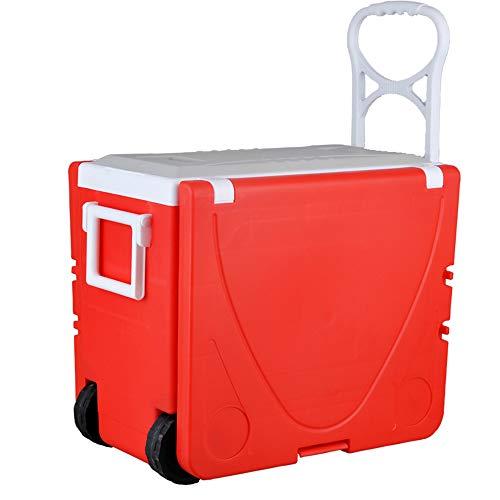YTBLF Inkubator 28L, Tiefkühlschrank, Multifunktions-Picknicktisch, tragbarer Aufbewahrungs- und Getränkefalttisch mit Zwei Stühlen,Red