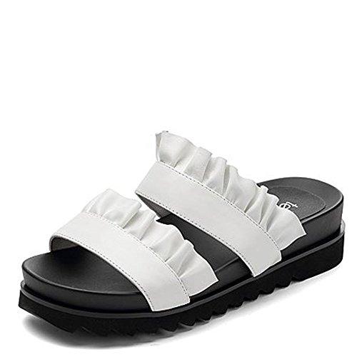 Confortable Pantoufles de mode d'été Dentelle avec des pantoufles épaisses Chaussures de mode pour dames (2 couleurs en option) (taille facultative) Augmenté ( Couleur : A , taille : 35 ) A