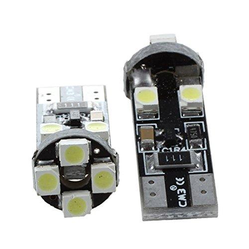 lumiere LED de voiture - TOOGOO(R) 2 x T10 W5W CANBUS sans erreur 8 SMD LED blanc ampoules de coin 12V