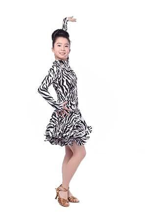 Colorfulworldstore Reguläres Mädchen/Frauen Turnierkleid für Lateinamerikanische Tänze-Cha cha cha Latin Rumba Samba Kleid-Langärmeliges tailliertes schwingendes Kleid (Mädchen-S-95cm Höhe, gestreift)