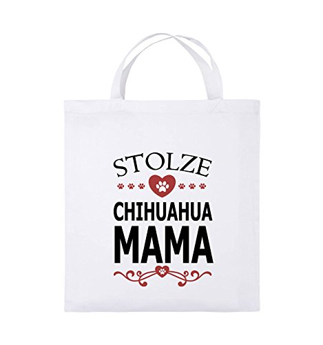 Comedy Bags - Stolze Chihuahua Mama - HERZ - Jutebeutel - kurze Henkel - 38x42cm - Farbe: Schwarz / Weiss-Neongrün Weiss / Schwarz-Rot