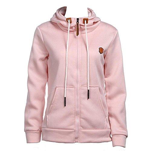 La Cabina Femme Sweat-shirt à Capuche Zippé Mode Loose Manteau avec Poche Manches Longues Grand Taille Tops Pullover Couleur Unie Pull à Capuche Casual et Sport Rose