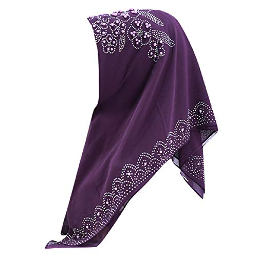 Barlingrock Frauen Muslim Kopftuch Cap Islamic Gold Glitters Chiffon Schal Roll-brim Straw