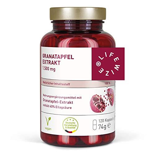 LifeWize® Granatapfel Extrakt - 40% Ellagsäure - 1500 mg Hochdosiert pro Tagesdosis - 120 Kapseln - Vegan & Hergestellt in Deutschland ohne Zusatzstoffe