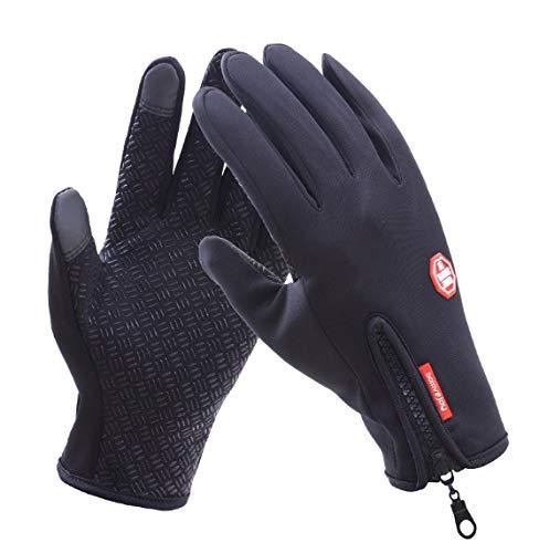 HAOYUXIANG Im Freien Wasserdichter Handschuh-Touch Screen Männer und Frauen Winddicht, die Reißverschluss-Sport-Thermische Thermo-Vlies-Ski-Handschuhe Reist (Farbe : SCHWARZ)
