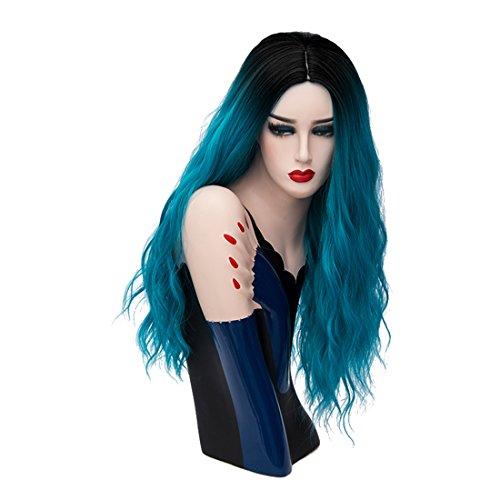 Priomix komplette Kostümperücke für Frauen und Perückekappe, 60cm lang, gewellt, gelockt, schwarze Wurzeln, Synthetik, geeignet für Weihnachten, Anime, Cosplay - Anime Halloween Games, Up Dress