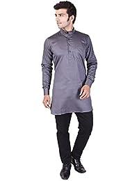 Veera Paridhaan Men's Solid Grey Cotton Kurta
