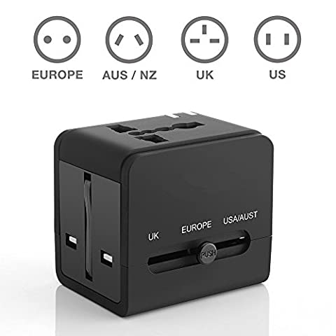 Adaptateur de voyage international partout dans le monde Convertisseurs universels universels Prise murale à courant alternatif avec ports USB double charge pour les États-Unis EU UK AUS For Lava Iris Fuel F2