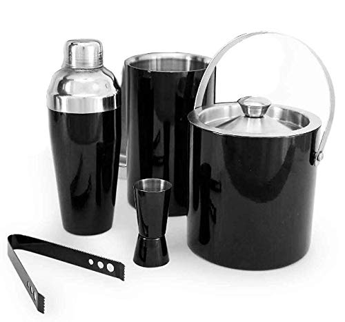5 Stück Cocktail (Edelstahl All in One Bar Tools, Schwarz, Set von 5 Stück Ice Bucket Zange Peg Measure Cocktail Shaker)