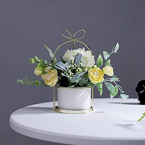 Czemo fiori artificiali in vaso pianta finta di plastica piante artificiali con vaso fiori finti per decorazioni di casa e ufficio (giallo)