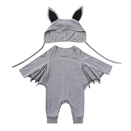 happy event Kleinkind Baby Mädchen Junge Baumwolle Fledermaus Kostüm Outfits Kleidung Sets Spielanzug + Hut | Toddler Infant Baby Girl Boy Bat Outfits Clothes Sets (Grau-80) (Bat Boy Kostüme)