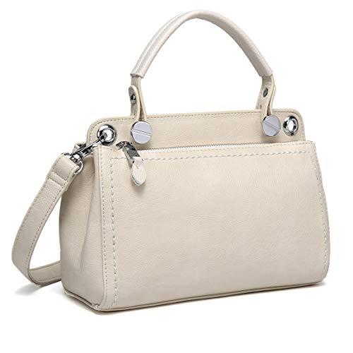 Kasgo borsa a tracolla donna, elegante morbido pelle pu borse tote piccola borsetta tracolla donna ragazza due scomparti con cinturino regolabile staccabile beige