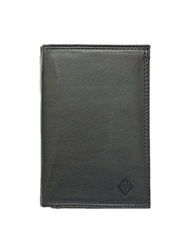 Grand portefeuille très pratique avec 4 volets - 20 emplacements pour cartes - Papier voiture et identité - Cuir synthétique souple de qualité - homme ou femm
