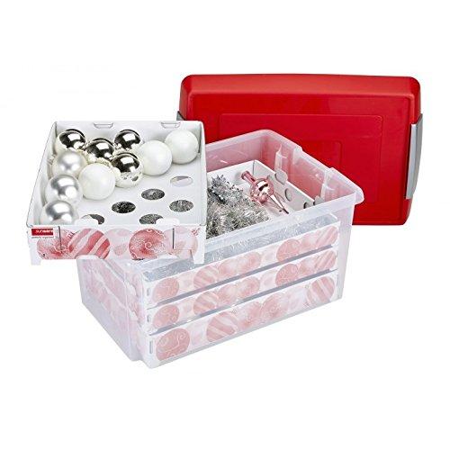 Aufbewahrung Weihnachtskugeln.Sunware Nesta Weihnachtskugeln Box Mit Tabletts Für 112 Transparent Rot 60 Liter