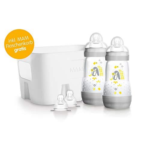 MAM Easy Start Anti-Colic Flaschen-Set - Babyflaschen Set mit 2 Anti-Kolik-Flaschen (260 ml), 2 Sauger Größe 1 & Flaschenkorb - Babyausstattung ab der Geburt, Tiermotiv, grün