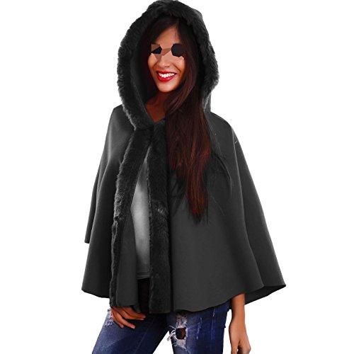Poncho donna cappuccio pelliccia mantella cappa giacca cappotto nuovo AS-2233 [Taglia unica,nero] Grigio scuro melange