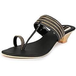 Do Bhai Kitten-Daisy Heels for Women (EU41, Black)