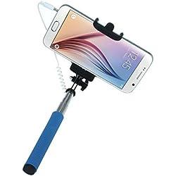 Perche Selfie, Koly Mini-Poche Extensible Fois Autoportrait Porte-BâTon Monopode pour iPhone 6/6 Plus/5S/5C/4S, Samsung Galaxy S6/S5/S4/S3, Note 4/3/2 , wiko et la plupart des smartphones Android (Ne prend pas en charge WINDOWS PHONE ni Blackberry) (Noir) (Bleu)