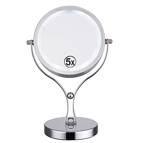 ALHAKIN LED specchio ingrandimento 1/5X 6pollici specchio cosmetico specchio da tavolo