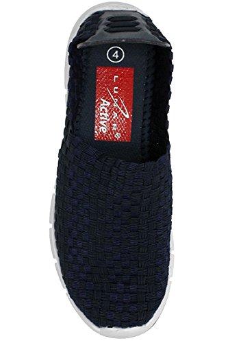 FANTASIA BOUTIQUE FLK014 Maverick Femmes àÉlastique Confortable Léger Baskets Bleu Marine