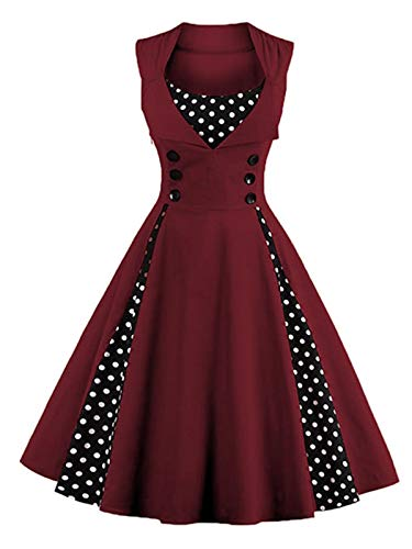 Vintage 50er Polka Dot Ärmellos A-Linie Swing Plissee Kleid Retro Cocktail Ballkleid...