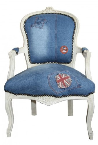 Casa Padrino Baroque Salon Chair Jeans/ Cream