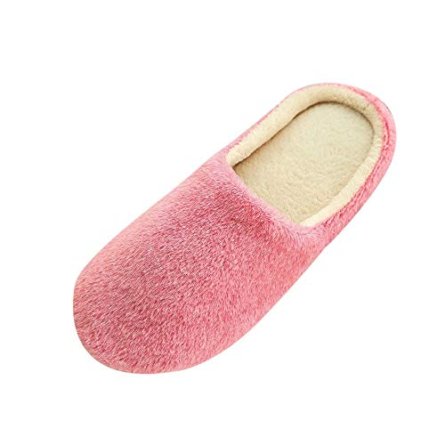 LOVELYOU Femme Chaussons Peluche, Fond Plat Confortable Chaud Slippers Home Accueil Chaussure Automne Hiver Anti-Slip Indoors (36-37, Rose)