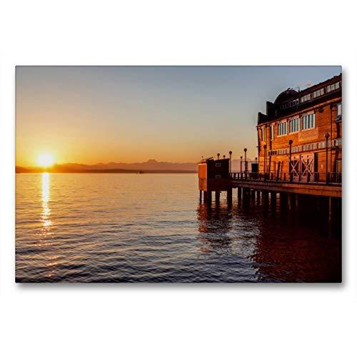 Calvendo Premium Textil-Leinwand 90 cm x 60 cm quer, Pier des Seattle Aquariums   Wandbild, Bild auf Keilrahmen, Fertigbild auf echter Leinwand, Leinwanddruck Orte Orte - Holz-thomas Aquarium