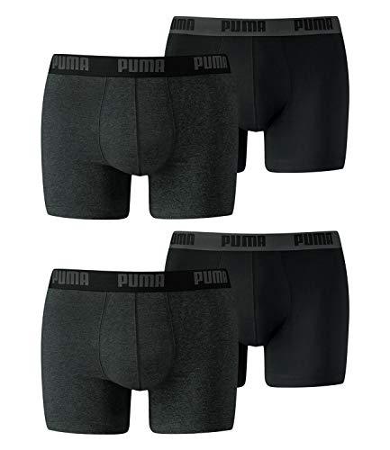 PUMA Herren Basic Boxer 4P Unterwasche,Dark Grey Melange / Black,XL