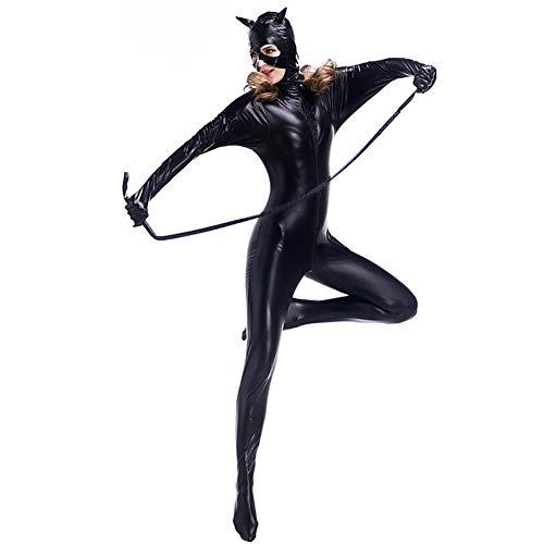 Gyan Damen Catwoman Kostüm Katze Jumpsuit Für Fasching Weihnachten Karneval Cosplay Maskerade Show Theater Passen Bühnenanzug Nachtdienst,M