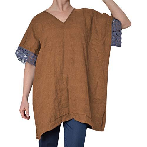TOPSELD T Shirt Damen, Art Und Weise Frauen BeiläUfige Kurze HüLsen Spitze Splicing Mit, V-Ausschnitt Lose Leichte Bluse