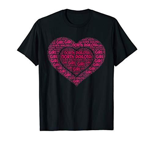 NORTH DAKOTA Girl T-shirt I Love NORTH DAKOTA State Home Tee T-Shirt -