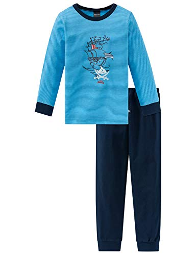 Schiesser Jungen Capt´n Sharky Kn Anzug lang Zweiteiliger Schlafanzug, Blau (Blau 800), 98 (Herstellergröße: 098)