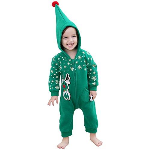 Bebone Bebe Pelele para Navidad Bodies Monos con Capucha(verde,9-12m)