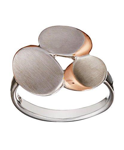 Silverly Anello Donna Argento Sterling 925 Satinato Placcato Oro 14K Pietre Stile Contemporaneo
