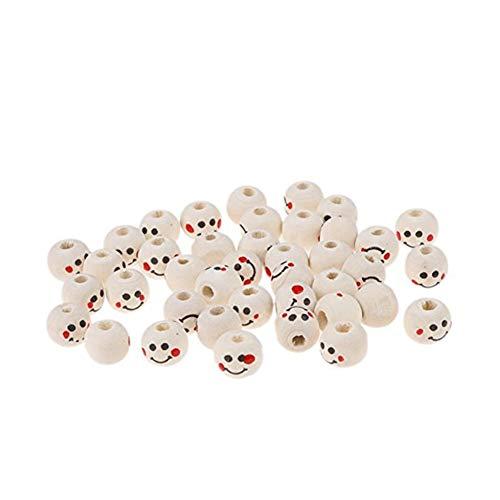 40Stk runde Holzperlen mit großen Loch lächelnden Gesicht Mustern Spacer Perlen Holz Spacer Perlen DIY Zubehör ArtSupplies