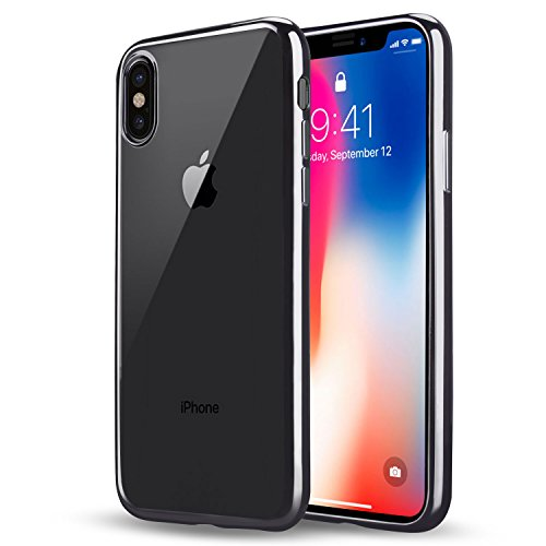 Preisvergleich Produktbild iPhone X Hülle, Infreecs iPhone X Schutzhülle Ultra Dünn Durchsichtige Backcover Handyhülle Scratch Resistant plating TPU Case für iPhone X, Grau