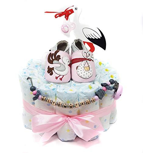 Elfenstall Windeltorte/Pamperstorte mit Lait èt Miel Krabbelschuhe und Schnullerkette mit Schnuller und vielen Extras als tolles Geschenk zur Geburt oder Taufe auf Wunsch mit Namen des Babys