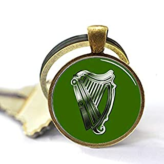aaaAA St. Patrick's Day Harp of Ireland Schlüsselanhänger handgefertigt