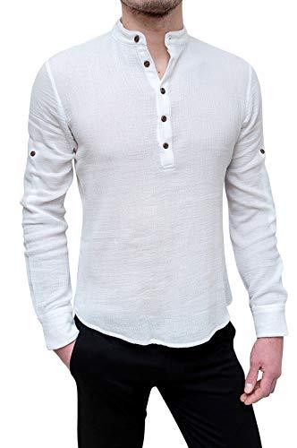 Evoga camicia uomo casual in cotone mod. serafino coreana lino (xxl, bianco)