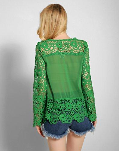 BININBOX® Damen elegant Langarmshirt Shirt mit Spitze Lace Spitzenshirt Slim Fit Top Bluse Shirt Tunika Hemd in 7 Farben Grün