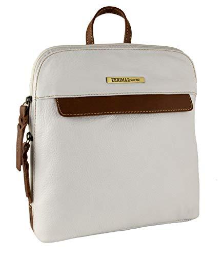 Zerimar Rucksack | Rucksack aus Leder | Lederrucksack Vintage | Rucksack Damen | Rucksack Damen Vintage | Massnahmen: 25x24x6 cm (Weiß tan)