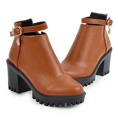 TAOFFEN Femmes Mode Bottes Fermeture Eclair brown