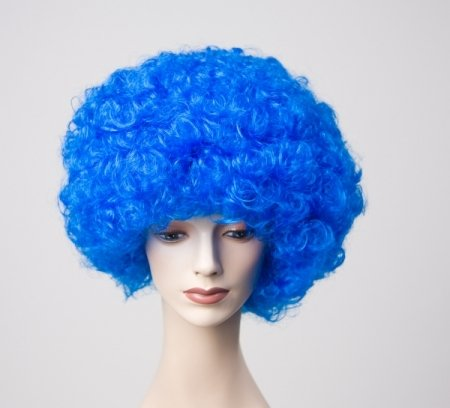 �cke Dauerwelle blau zum Clown Kostüm (Kinder-perücke Blau)
